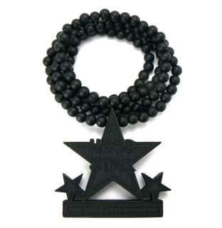 HOOD STAR Good Quality Wood Pendant & 36 Wooden Ball Chain Necklace
