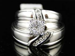GOLD FINISH ROUND CUT DIAMOND BRIDAL ENGAGEMENT RING TRIO SET