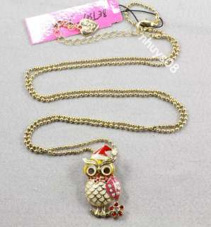 Betsey Johnson Owl With Christmas Hat Stud Earrings ring Necklace Set