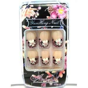 Nails   Set of 24 Artistic Natural looking Pre glued Nail Tips 05030