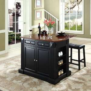 Leaf Breakfast Bar Top Kitchen Island in Black Finish with 24 Black