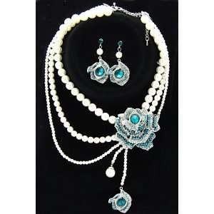 blue rhinestone flower pearl necklace earring set
