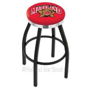 Maryland Bar Stool   Swivel With Black Ring and Chrome Accent   NCAA