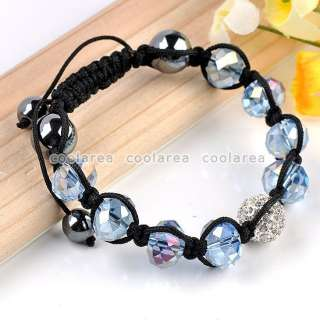 1X Light Blue Faceted Crystal Glass Disco Ball Style Macrame Bracelet