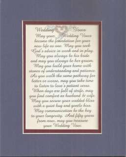 Husband Wife WEDDING VOWS Marriage verses poems plaques