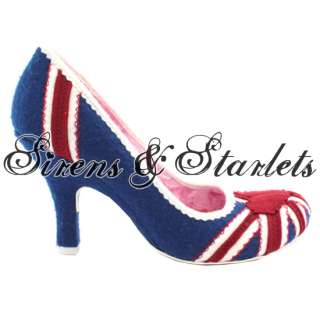 CHOICE PATTY BLUE RED WHITE UNION JACK FLORAL BRITISH FLAG COURT SHOES