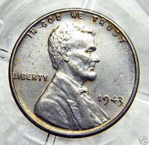 AU+ 1943 P STEEL LINCOLN WHEAT BACK CENT.#7805