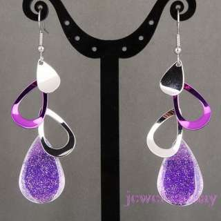 New Silver Plated Purple Tear Drop Long Dangle Earrings