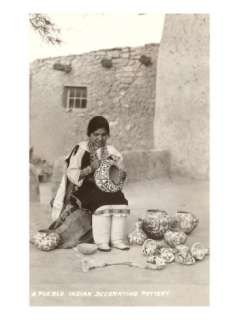 Acoma Pueblo Indian Woman Decorating Pottery Posters at AllPosters