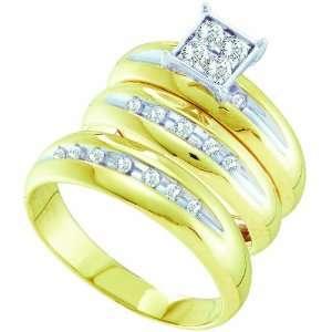 Mens Ladies 10K Yellow and White Gold .4CT Round Cut Diamond Wedding