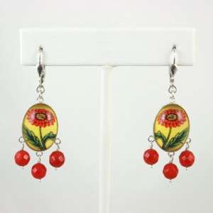 HOTCAKES DESIGN Slvr Oval Gem Drop Earrings RED FLOWERS