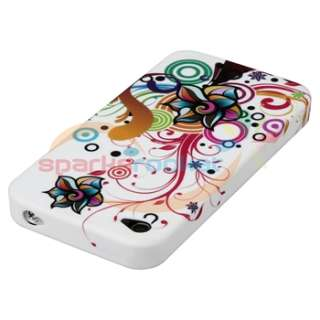 White Flower Skin Silicone Gel Case Cover+Privacy Film for Apple