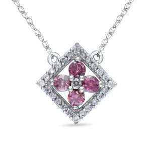 10K White Gold, Pink and White Gold, Flower Pendant with Chain