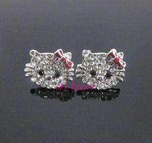 cute Hello Kitty red bow crystal earring earbob xmas gift E27