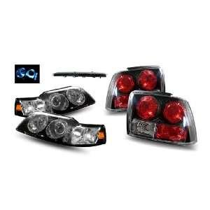 Mustang Black LED Halo Projector Headlights 1PC + LED 3rd Brake Lights