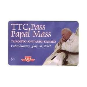 TTC Pass Papal Mass Transit Card Pope John Paul II Toronto 07/2002