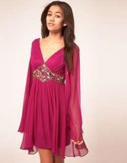 Forever Unique  Vestido túnica con escote en V pronunciado y adornos