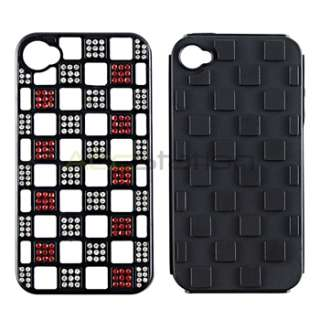 Bling Dual Flex Hard Case Cover+PRIVACY Guard for iPhone 4 G 4S