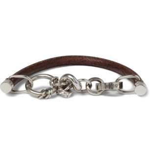 Maison Martin Margiela Leather and Silver Plated Chain Bracelet  MR