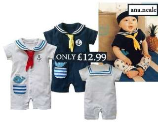 Baby Boy Sailor Fancy Dress Costume Suit Outfit Halloween Navy White 3