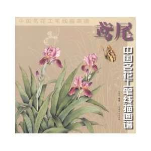 meticulous line drawings of flowers in China Huapu: Iris