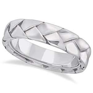 Mens High Polish Braided Handwoven Wedding Ring 14k White