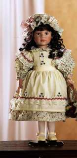 Classic Country Girl Porcelain Doll W/ Basket (Krystle)