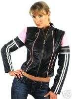 WOMENS LADIES BLACK & PINK LEATHER MOTORCYCLE JACKET XL
