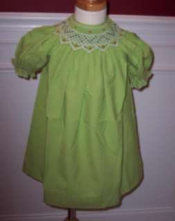 Christmas Bishop Dress Light Green Smocked Floral New