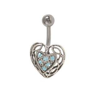 Antique Heart Belly Button Ring with Light Blue Jewels Jewelry