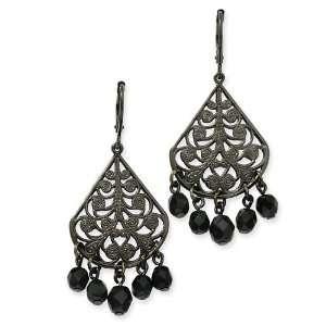 Faceted Jet Bead Chandelier Leverback Earrings 1928 Jewelry Jewelry