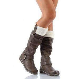 QUPID RIDING STYLE BOOTS W/ FUR, ALL SIZES COGNAC