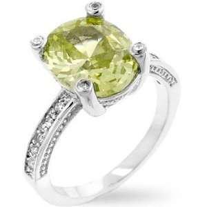 Gemstone CZ Rings   Oval Apple Green CZ Ring Jewelry