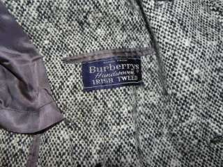 Vintage Burberry Mens Full Length Wool Tweed Coat