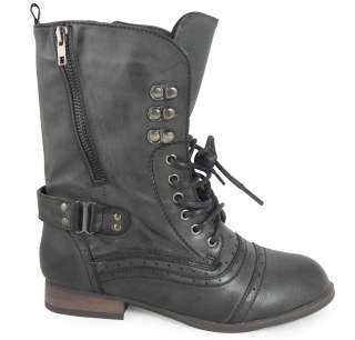 LADIES WOMENS BLACK ARMY COMBAT LACE UP BOOTS SHOES 3 8