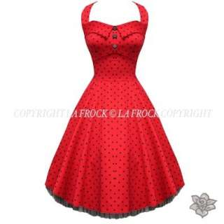 RED LAFROCK VINTAGE ROCKABILLY PROM DRESS 8 16