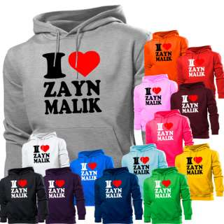 LOVE HEART ZAYN MALIK ONE DIRECTION HOODIE HOODY WOMEN BOYS GIRLS