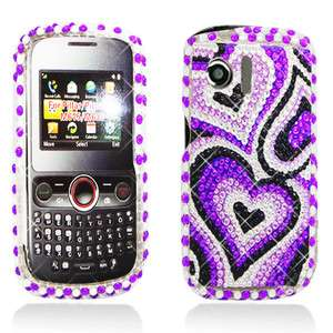 M615 Pillar M635 Pinnacle Pearl Purple Heart Crystal Stone Case Cover