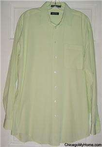 Nautica Mens Lime Green Button Down Pocket Shirt 16 35