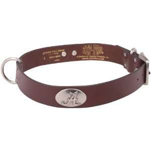 Alabama Crimson Tide Brown Leather Concho Dog Collar  Pet