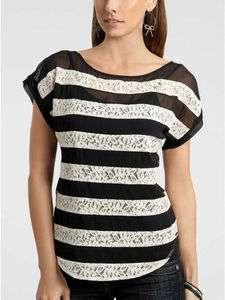 Colleen Black & White lace stripe Top Blouse Tunic XS/1/2/3, L/8/9