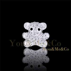 18k White Gold EP Brilliant Cut Crystal Little Bear Brooch Pin