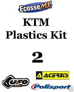 UFO KTM PLASTICS KIT 2 Motocross SX525 05 06 WHITE