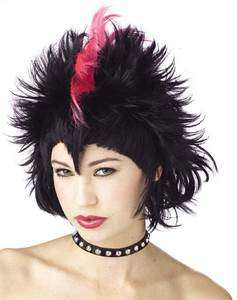 Womans Black & Pink Mohawk Style Costume Hair Wig