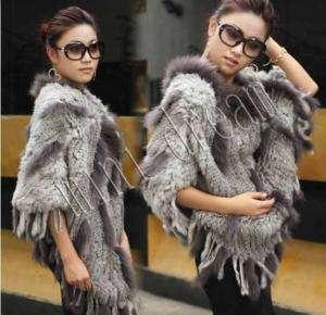 Grey Brown Black Genuine Real Raccoon Rabbit fur cape scarf Poncho