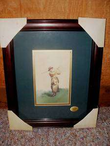 Collectible Lady Golfer Framed Matted Print Art Picture By Artist D