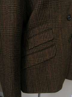 Chaps Tweed Blazer Jacket Equestrian Brown Plaid Wool Logo Buttons 16