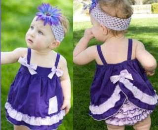 Baby Ruffle Top+Pants+Headband Set 0 3Y Bloomers Outfit Dress