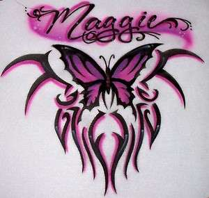 Airbrushed Butterfly Tribal Ladies custom shirt Airbrush any color