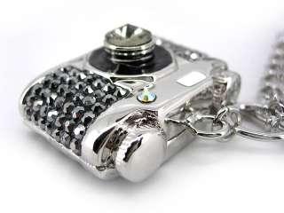 Very Cute Big Camera USE SWAROVSKI Crystal Necklace